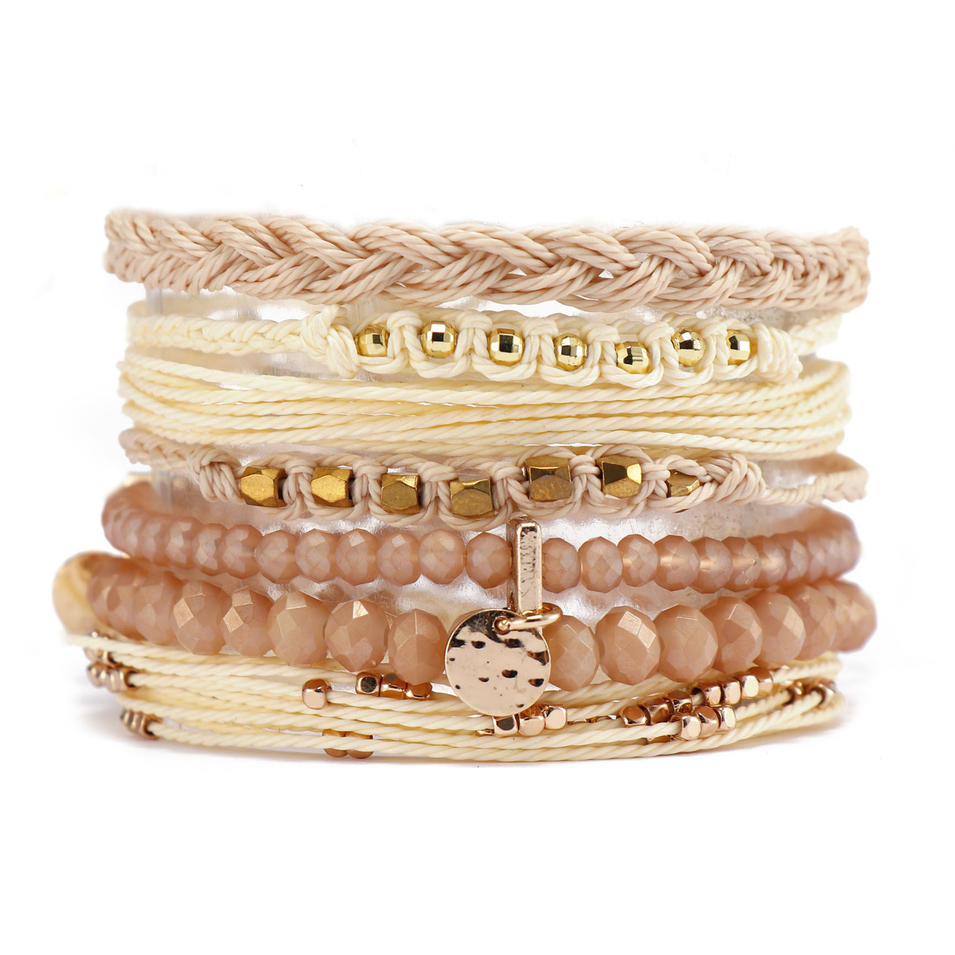 Handmade Crystal Cord Copper Accessories Bracelet Set