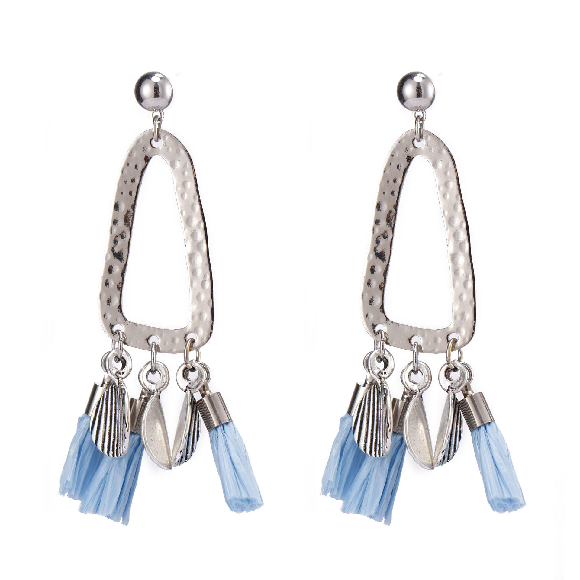 Handmade Plastic Tassel Drop Earrings With Copper Accessories