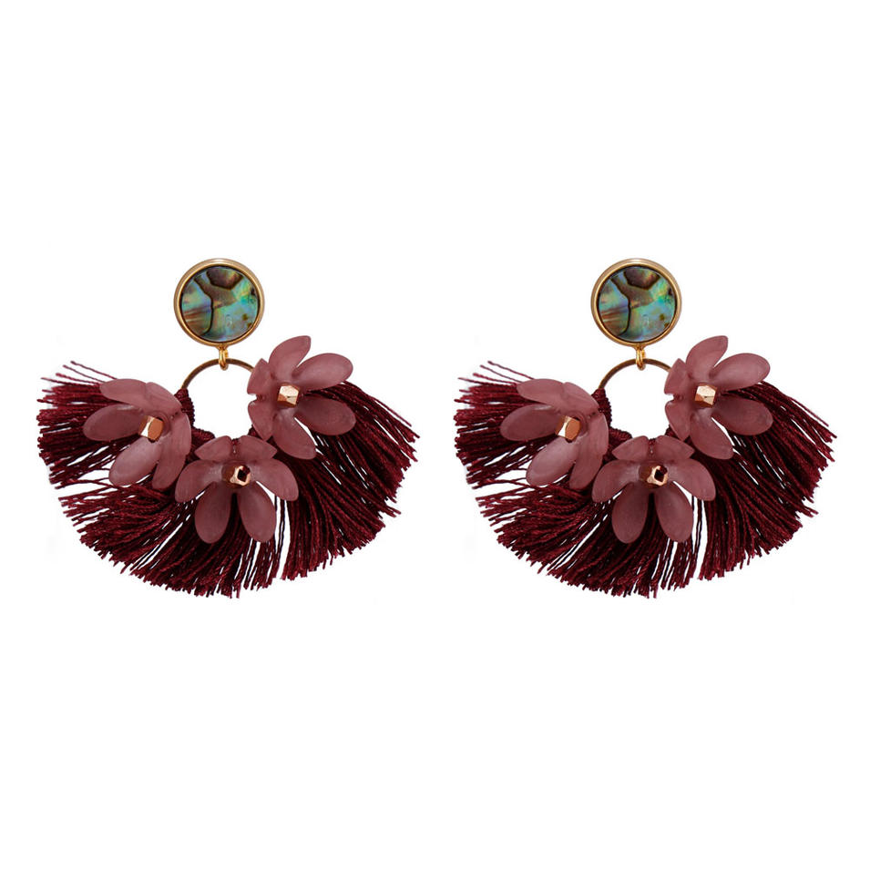 Handmade Abalone Shell Plastic Piece Tassel Earrings