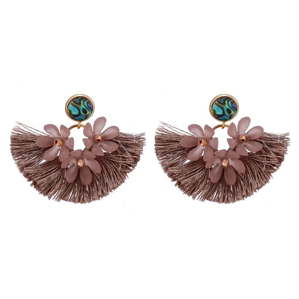 Handmade Abalone Shell Plastic Piece Tassel Earrings-5