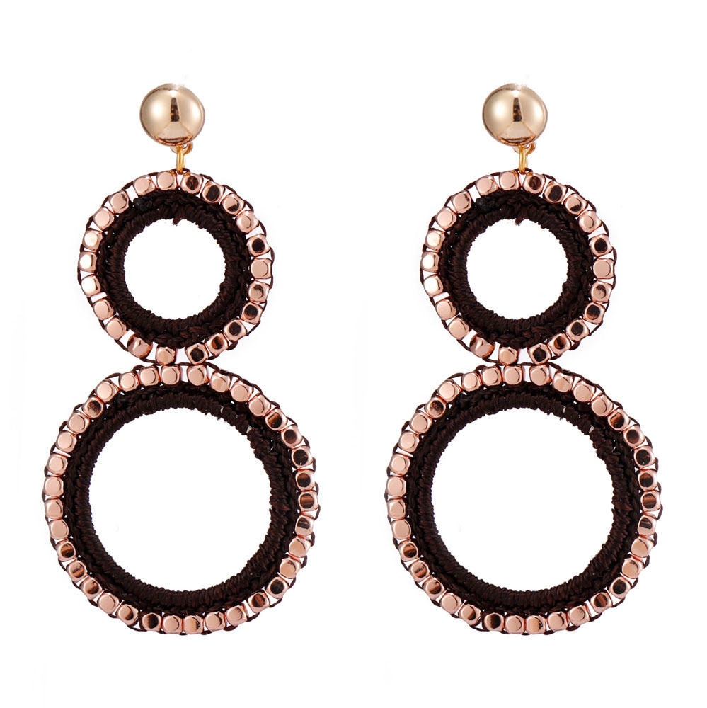 Handmade Double Cotton Thread Hoop Earrings With Copper Beads