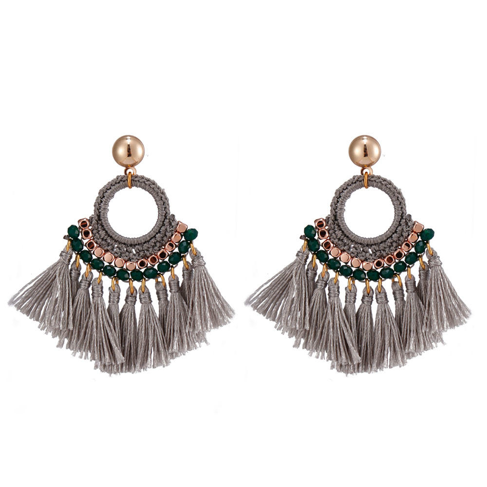 Handmade Fan-shaped Tassel Earrings With Copper