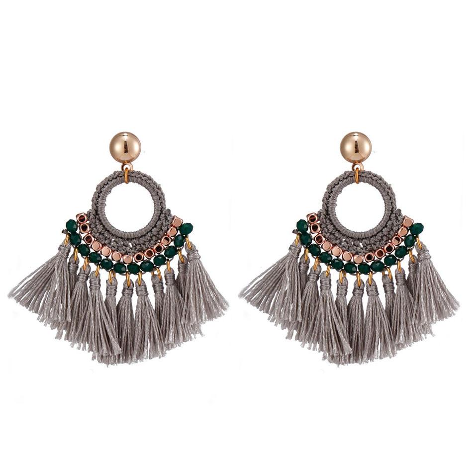 Handmade Fan-shaped Tassel Earrings With Copper