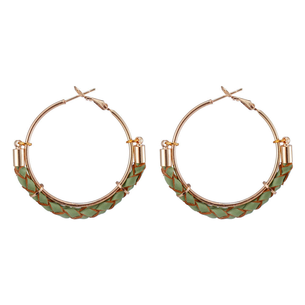 Handmade Leather Hoop Earrings With Copper Accessories
