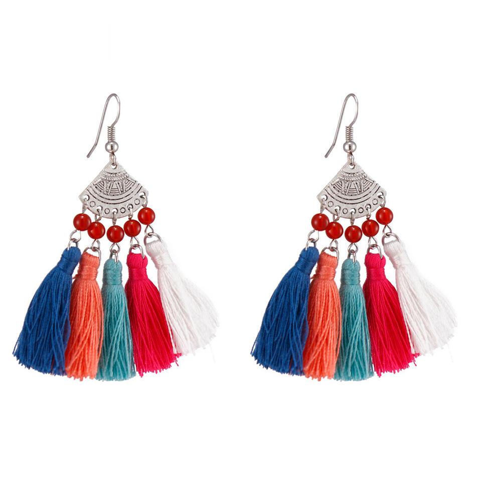 Handmade Clustered Tassel Earrings
