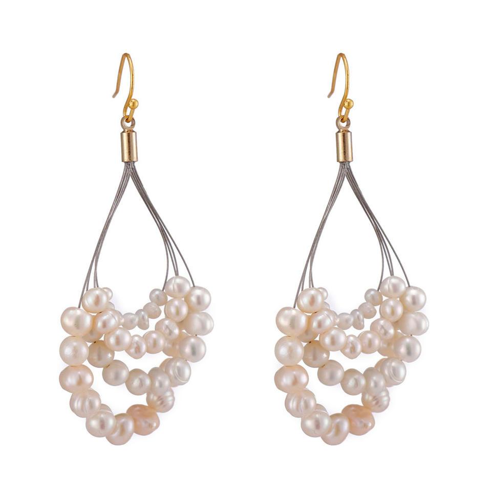 Handmade Pearl Beads Hoop Earrings