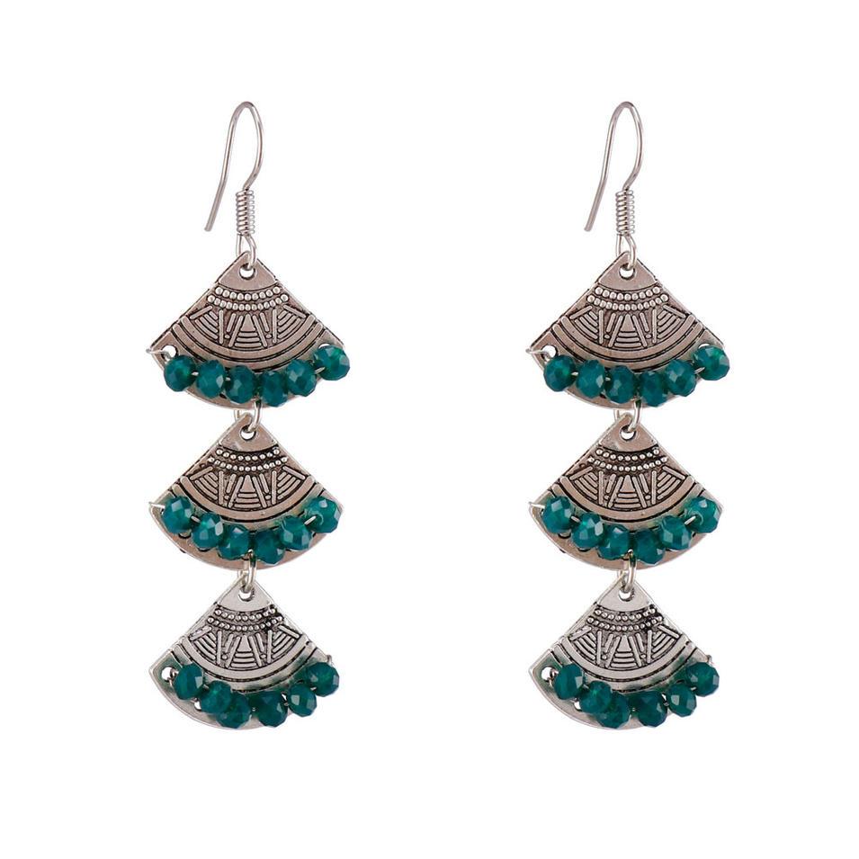 Handmade Alloy Crystal Drop Earrings