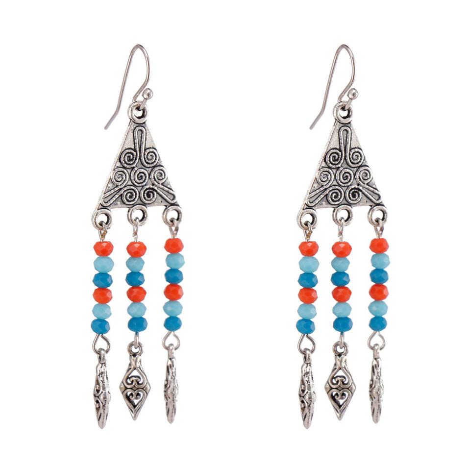 Handmade Crystal Beads Alloy Drop Earrings