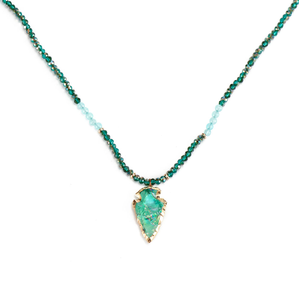Handmade Green Color Stone Pendant Alloy Accessories Necklace Women Jewelry