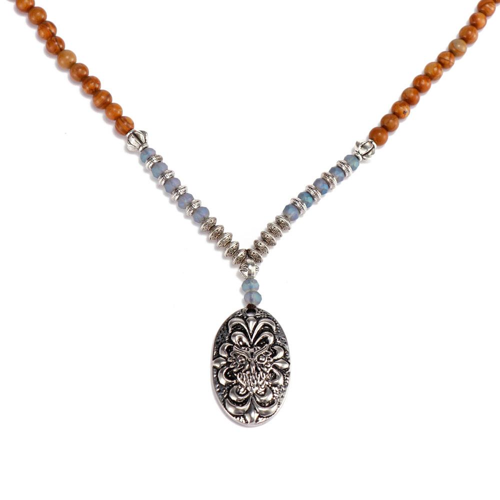 Handmade Orange Color Stone Pendant Alloy Accessories Necklace Women Jewelry