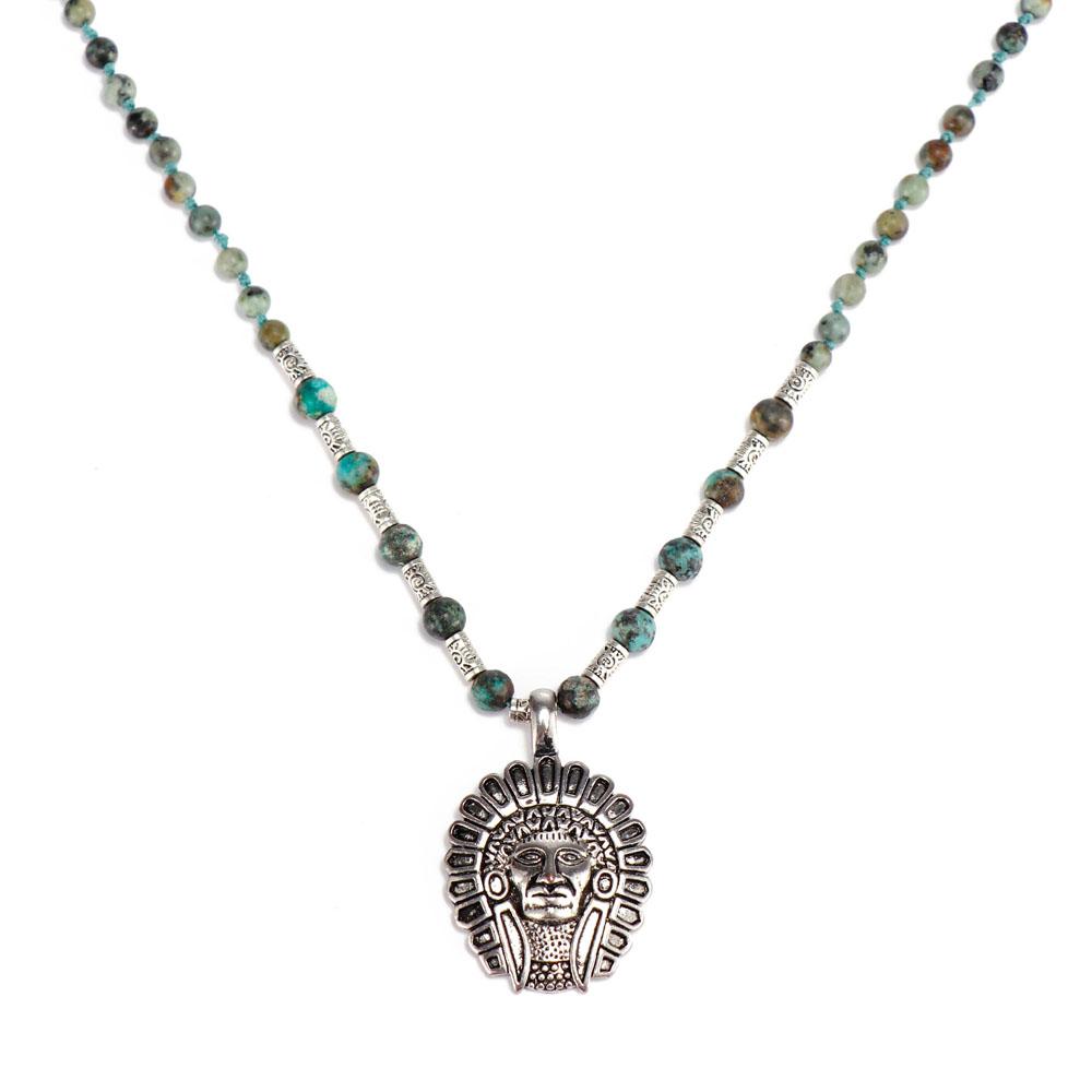 Handmade Jasper Color Stone Pendant Alloy Accessories Necklace Women Jewelry