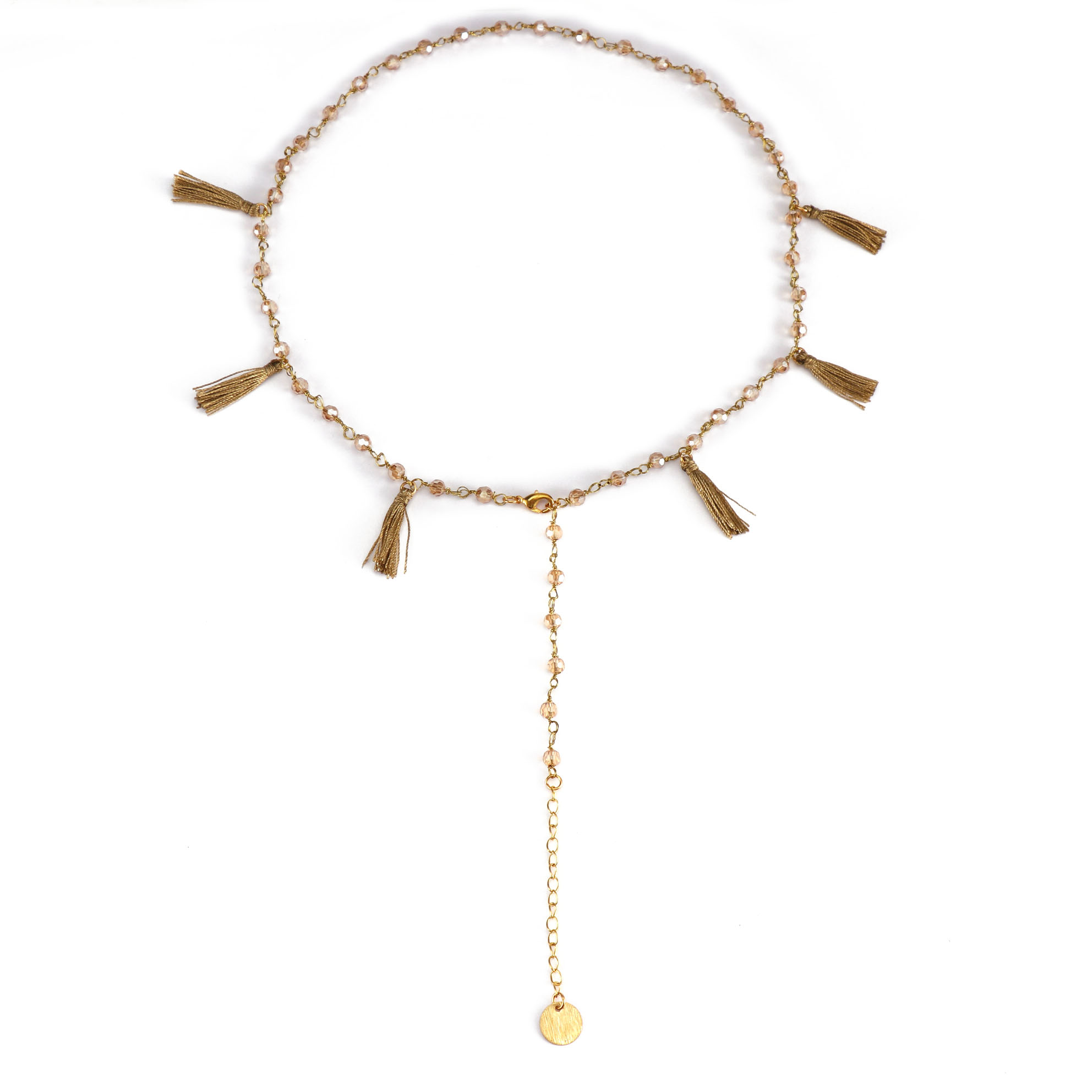 Stylish Wholesale Gold Plated Crystal Beads Necklace With Tassel Women Jewlery