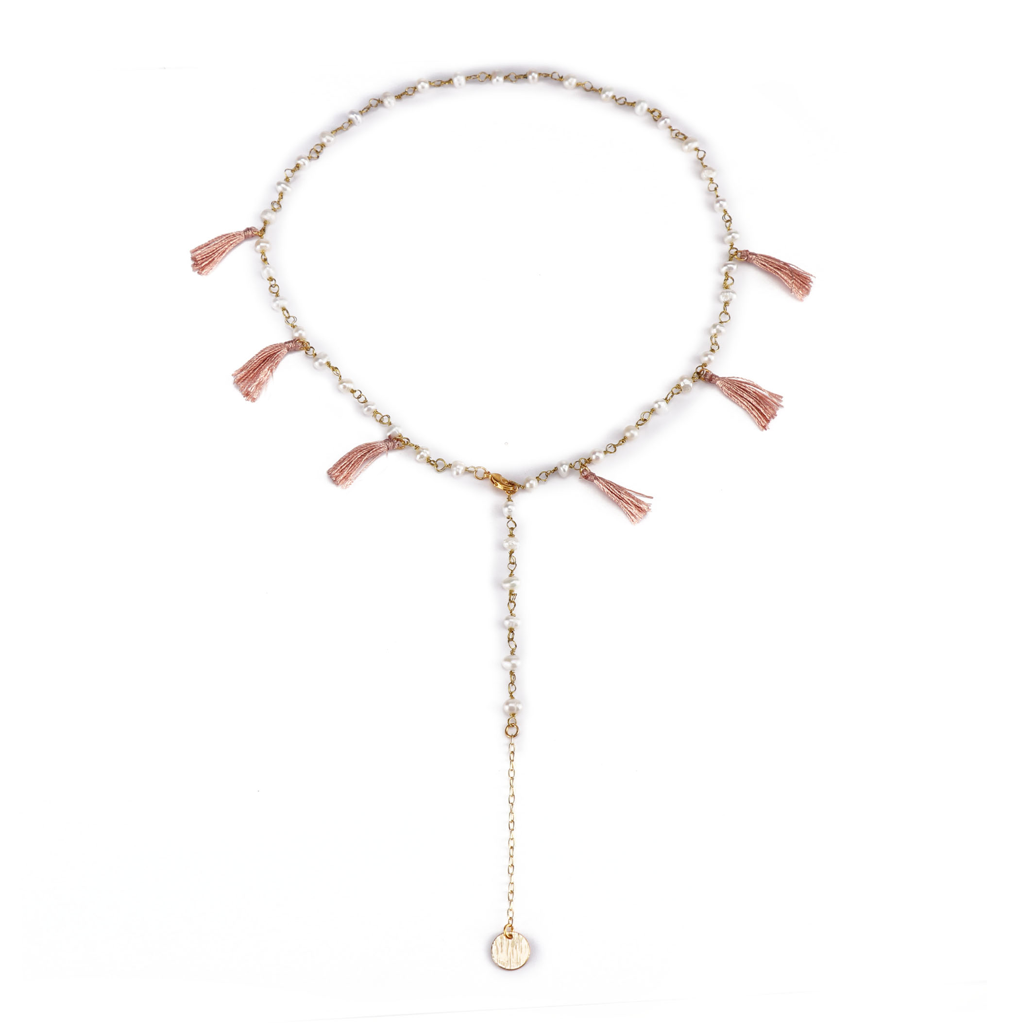 Stylish Wholesale Gold Plated Crystal Beads Necklace With Pink Color Tassel Women Jewlery