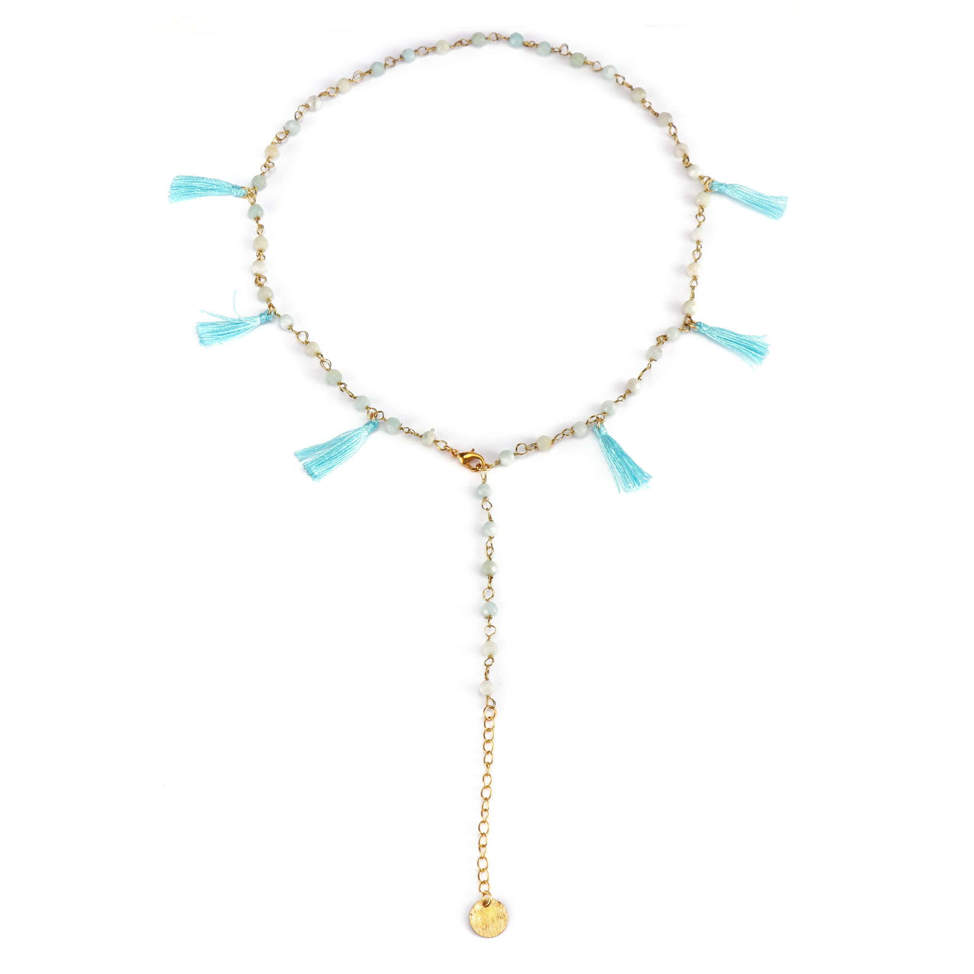 Stylish Wholesale Gold Plated Crystal Beads Necklace With Sky blue Color Tassel Women Jewlery