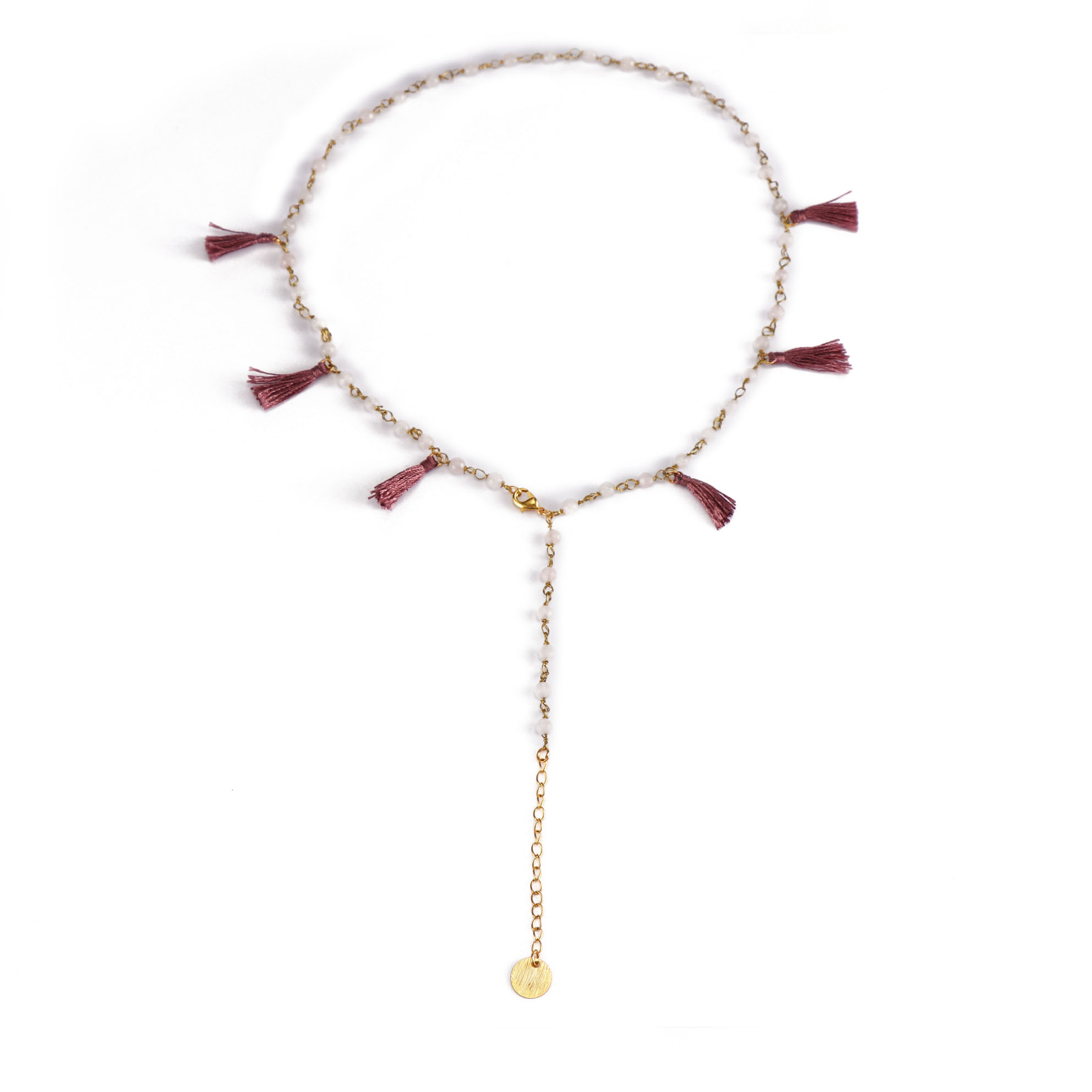 Stylish Wholesale Gold Plated Crystal Beads Necklace With Wine red Color Tassel Women Jewlery