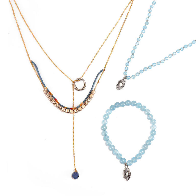 Handmade Miyuki Copper Necklace And Stone Necklace Bracelet Set