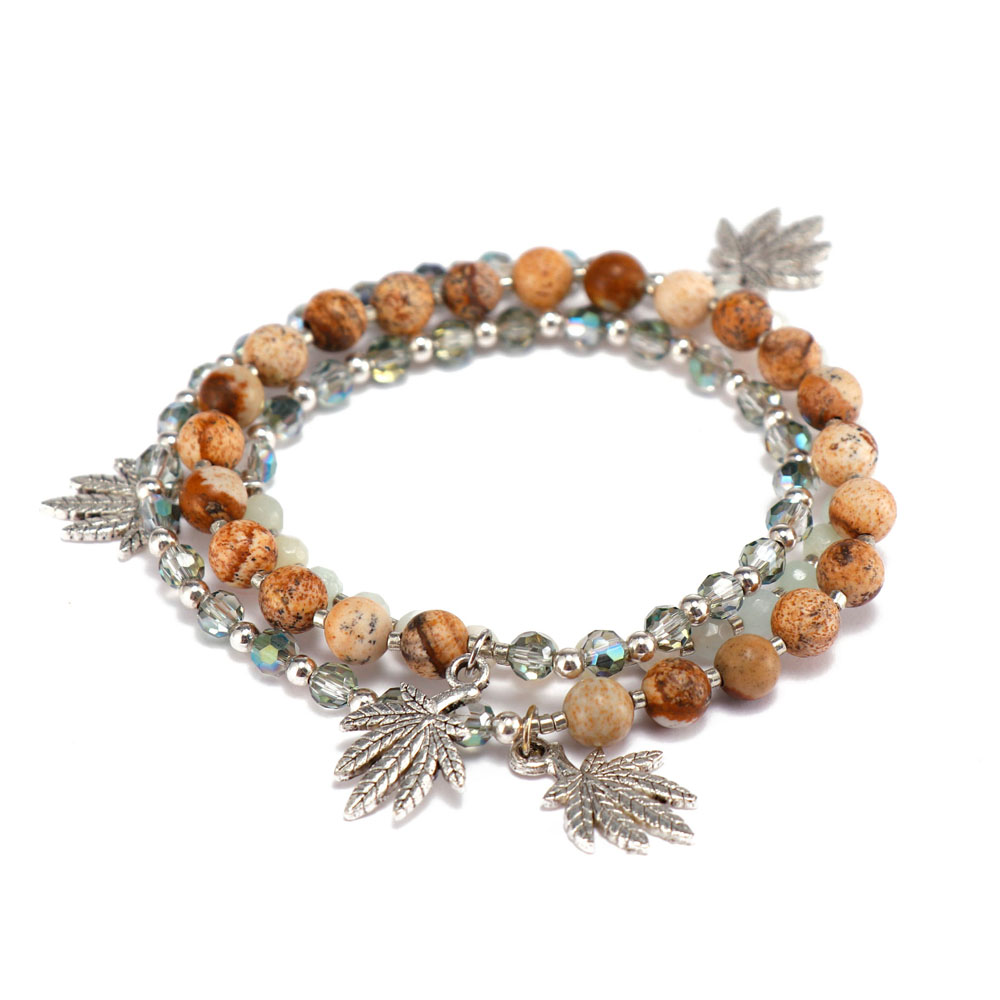 competitive price rose stone bracelet doublelayers great deal for trader-4