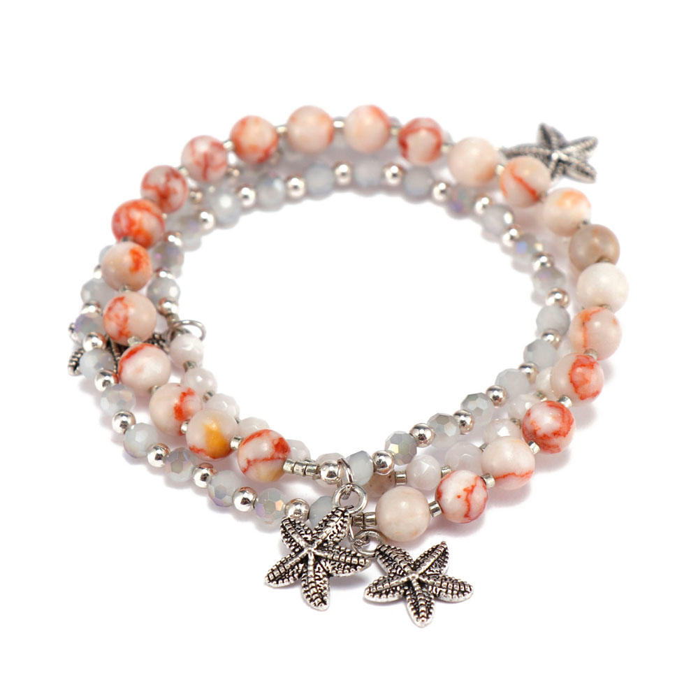 competitive price rose stone bracelet doublelayers great deal for trader