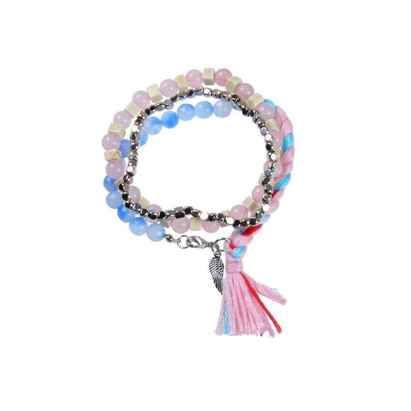Handmade Stone And Crystal Beads Mutilayer Bracelet