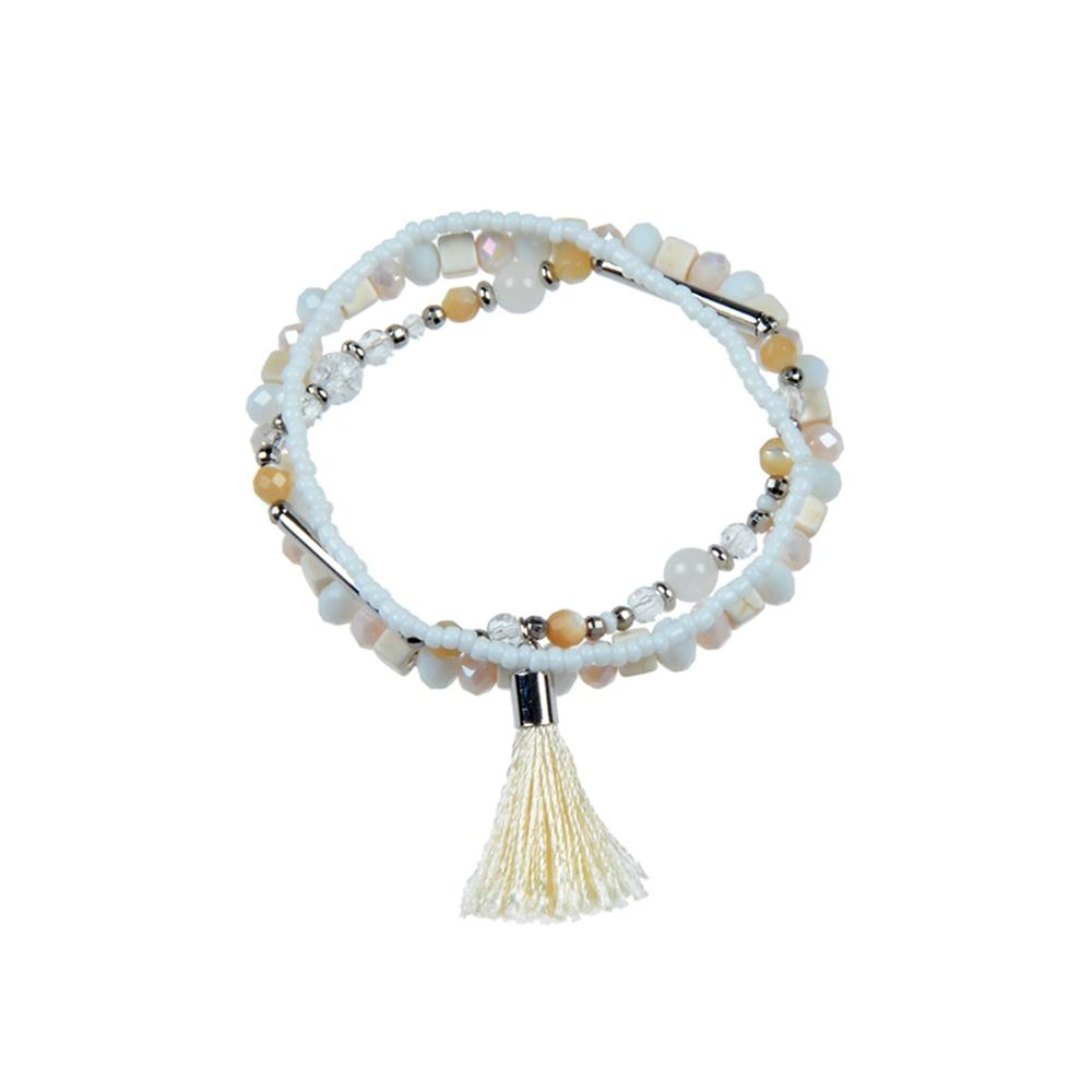 Handmade Stone And Crystal Beads Mutilayer Bracelet With Tassel