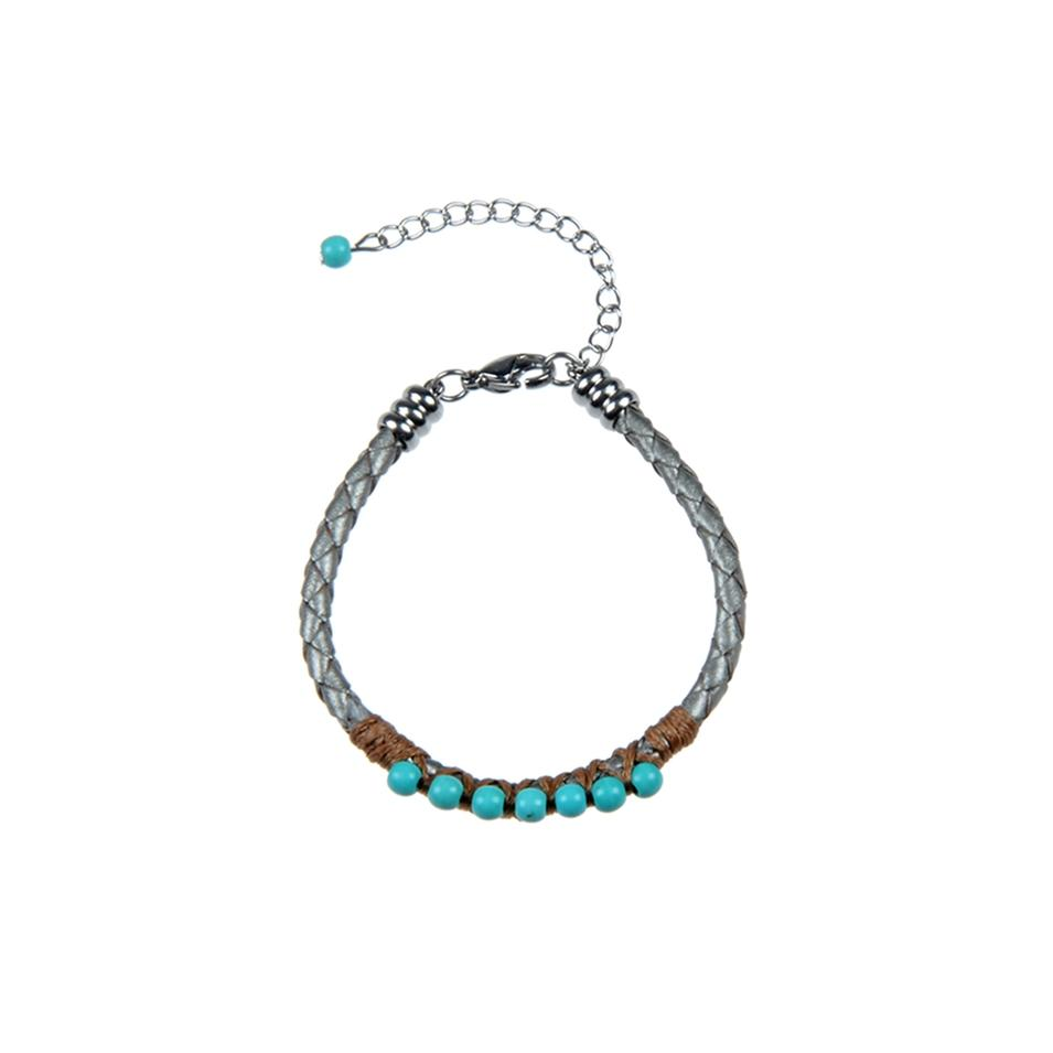 Turquoise Leather Bracelet With Tail Chain