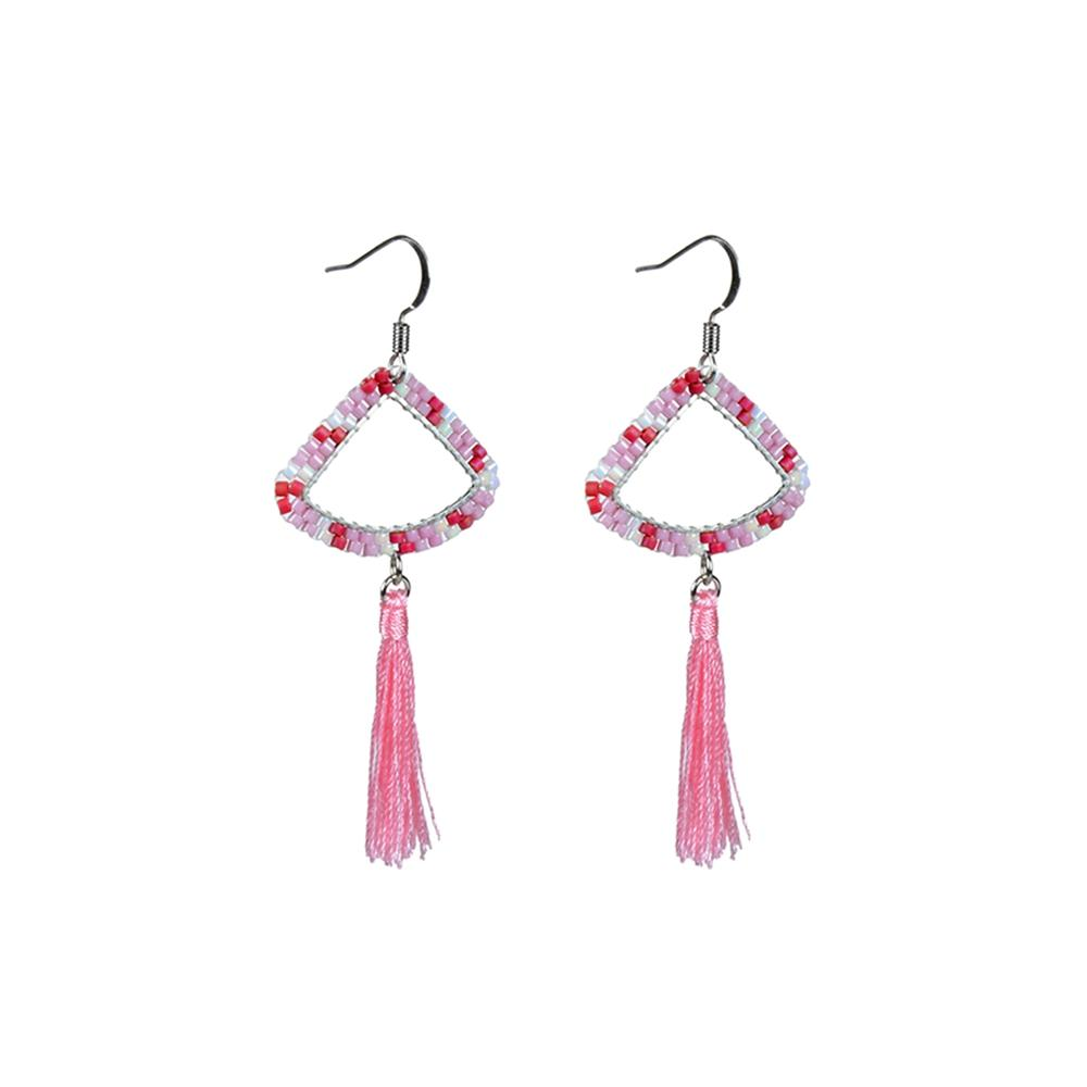 Miyuki Seed Bead Tassel Drop Earrings