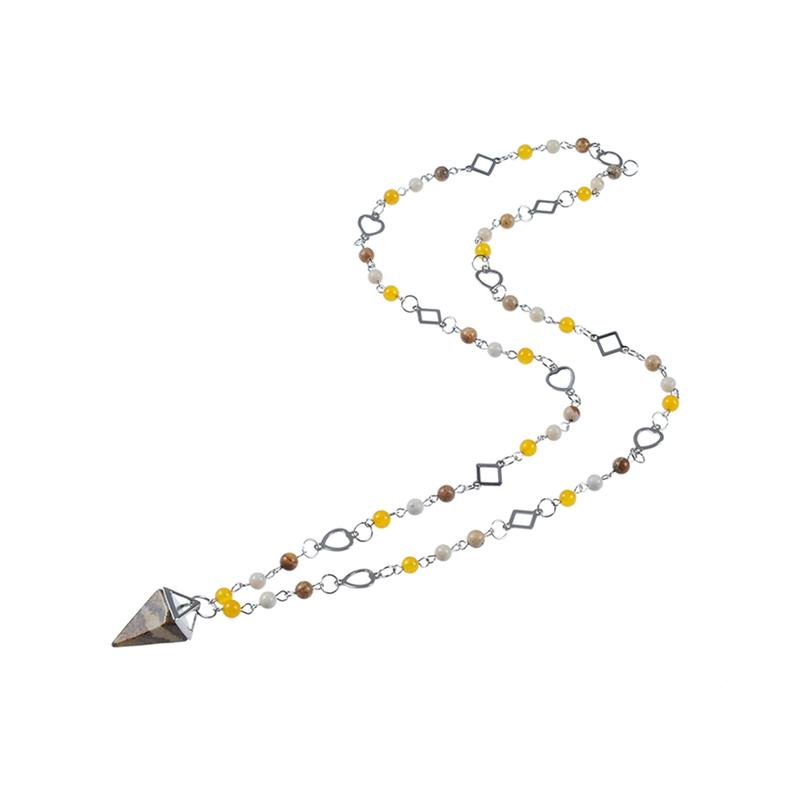 Stone Pendant Bead Necklace With Stainless Steel Accessories