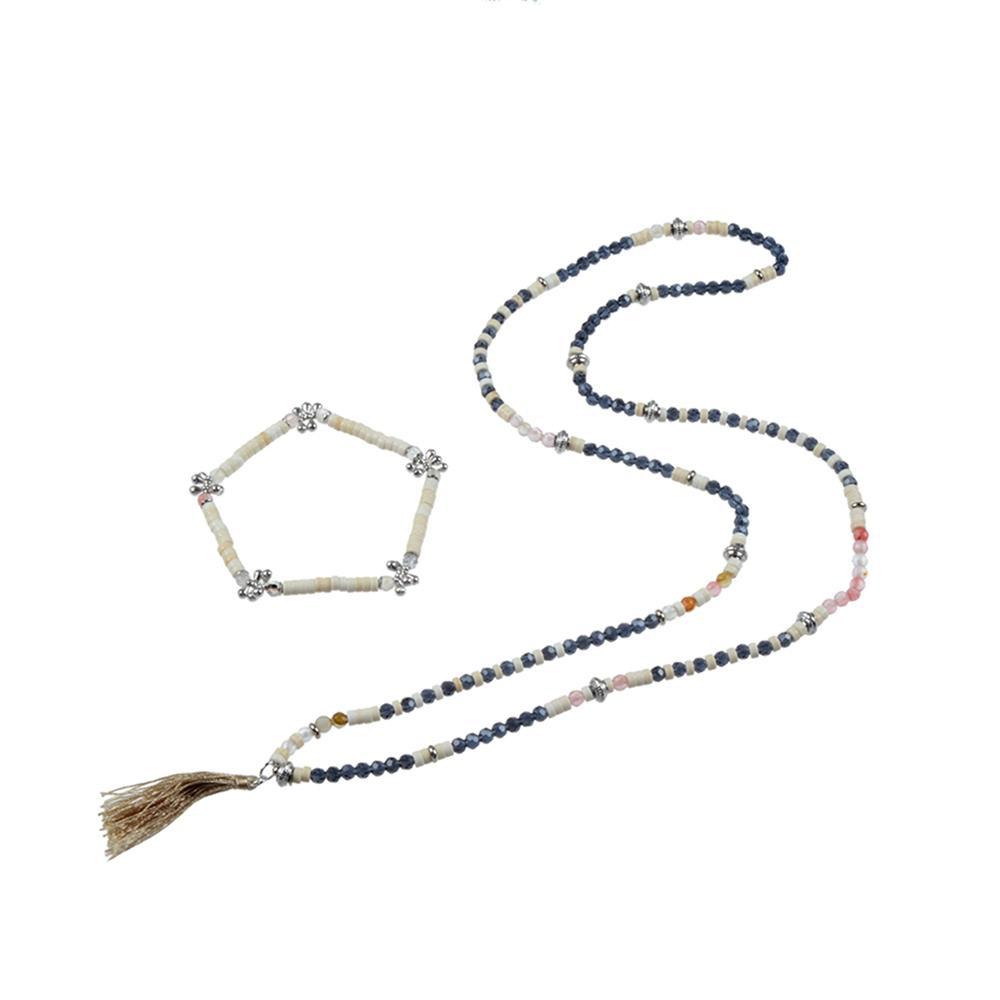 Natural Stone Bead Necklace & Bracelet Set