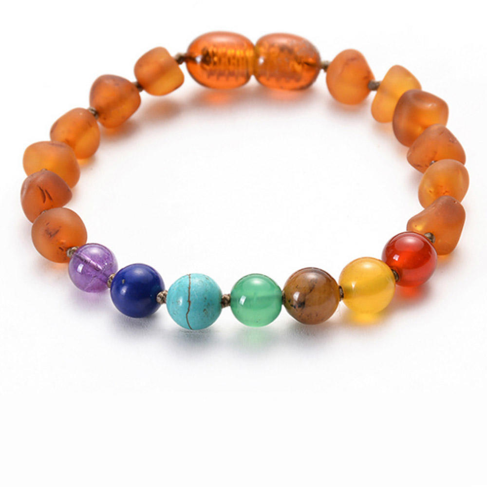 Wholesale Handmade Amber Teething Chakra Beaded Bracelet For Kid