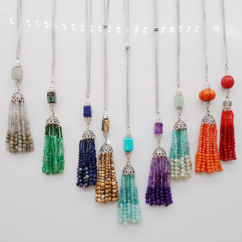 Wholesale Fashion Colorful Handmade Stone Bead Tassel Pendant Necklace