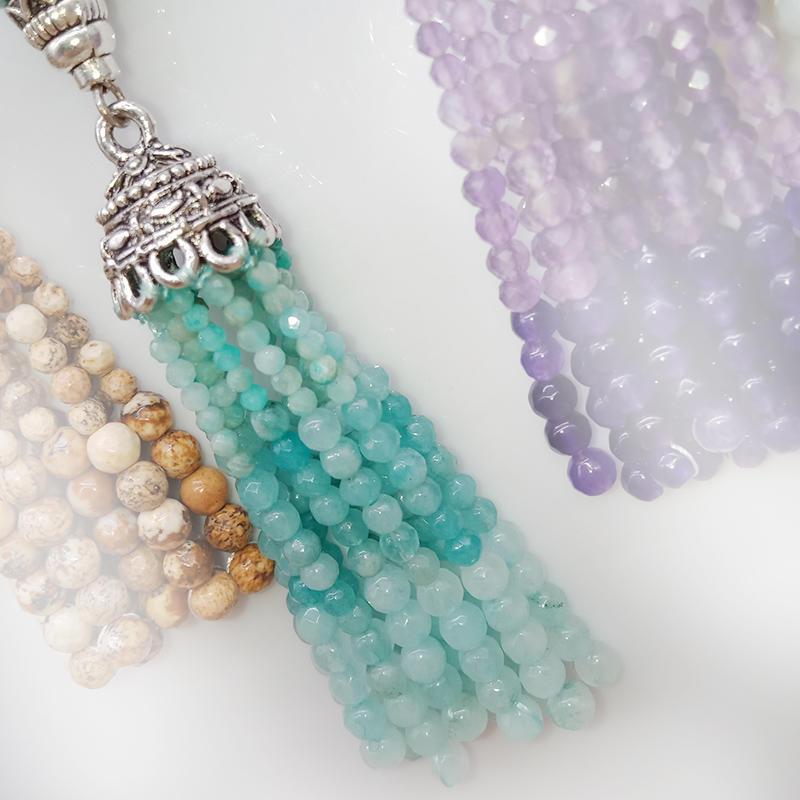 Wholesale Fashion Colorful Handmade Stone Bead Tassel Pendant Necklace