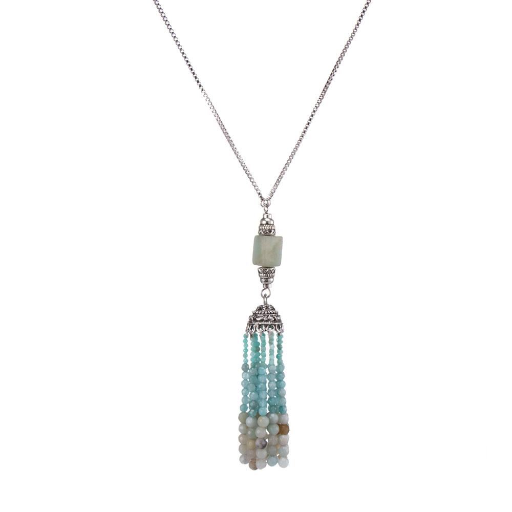 Wholesale Sky blue Color Handmade Stone Bead Tassel Pendant Necklace
