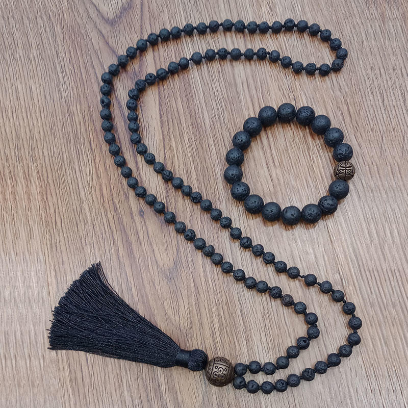 Wholesale Handmade Lava Stone Beads Mala Necklace Bracelet Set