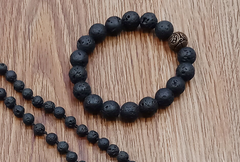 Wholesale Handmade Lava Stone Beads Mala Necklace Bracelet Set
