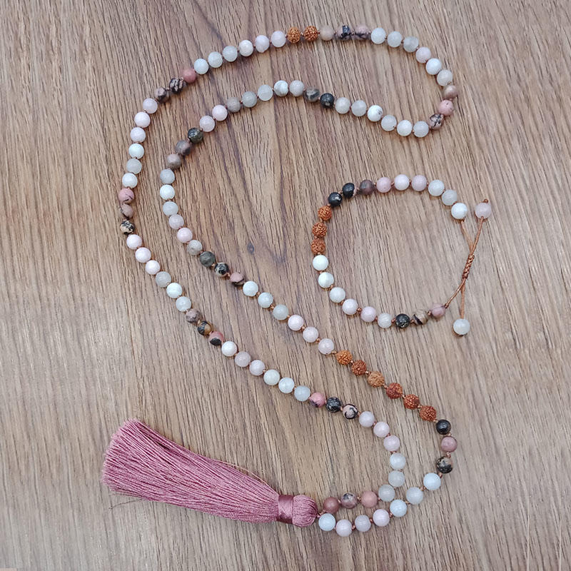 Wholesale Handmade Custom 108 Beads Pink Tassel Style Mala Necklace Bracelet Set