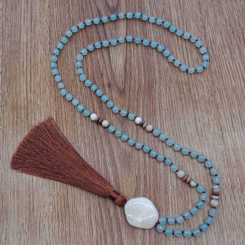 Mala 108 Natural Stone Beads Necklace With Stone Pendants