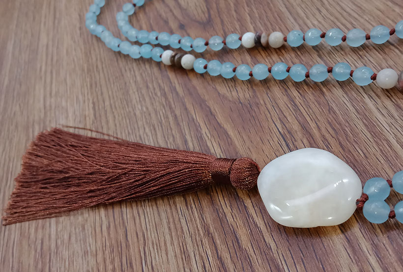 Relax Fashion Tassel Style Mala 108 Natural Stone Beads Necklace With Stone Pendants