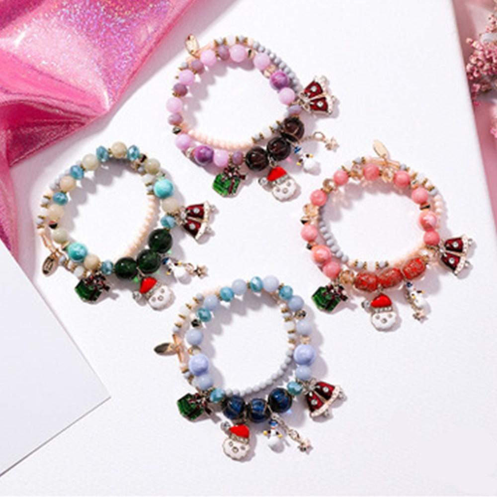 Christmas Charms Stretch Bracelet Set For Kids Wholesale Handmade