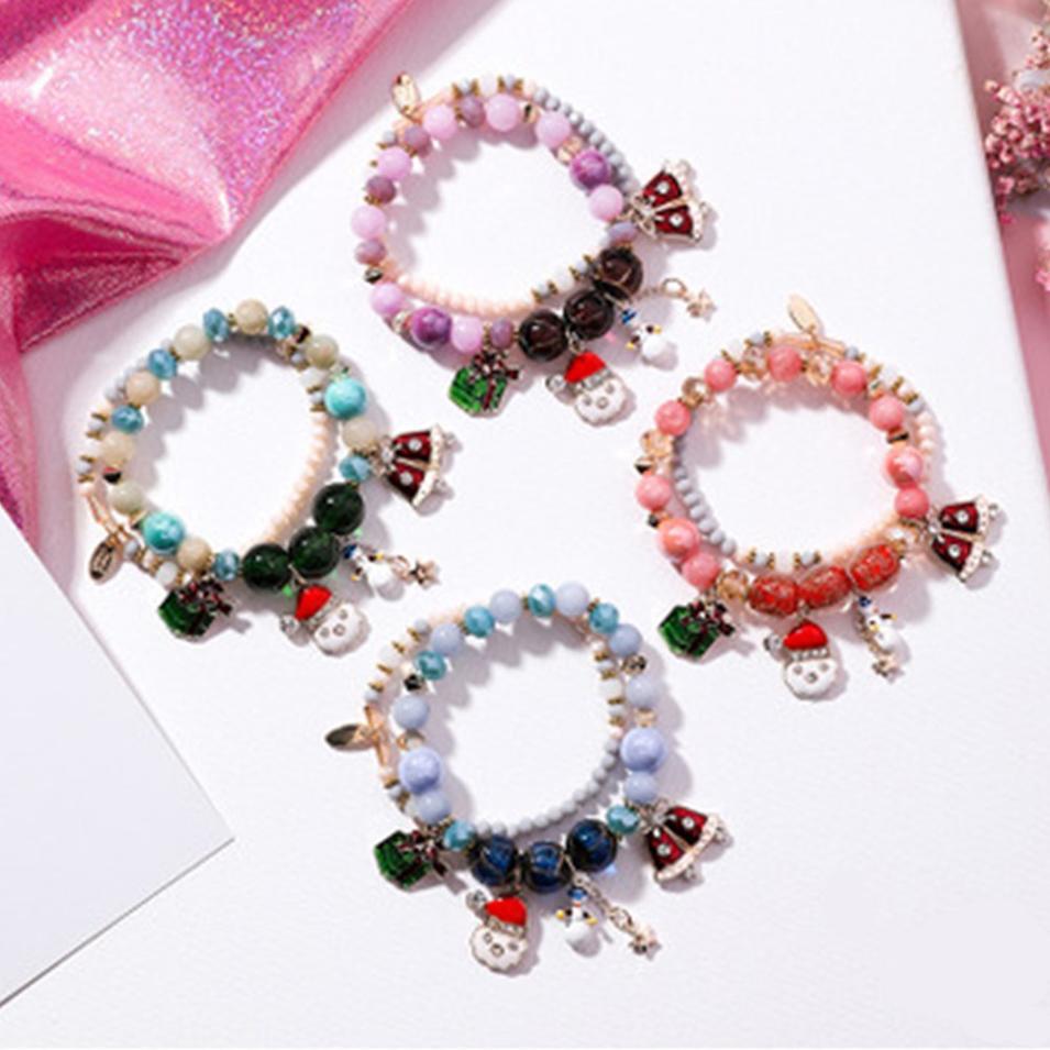 Christmas Charms Stretch Bracelet Set For Kids Wholesale Handmade