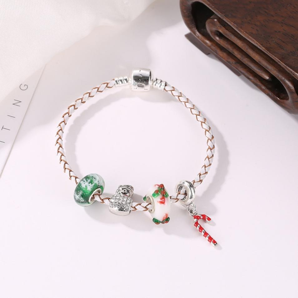 Wholesale Handmade Christmas Gift Charms Leather Bracelet For Kids