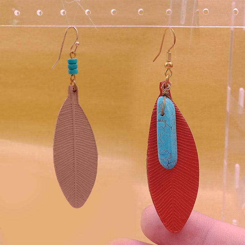 Wholesale Handmade Turquoise Teardrop Leather Earrings