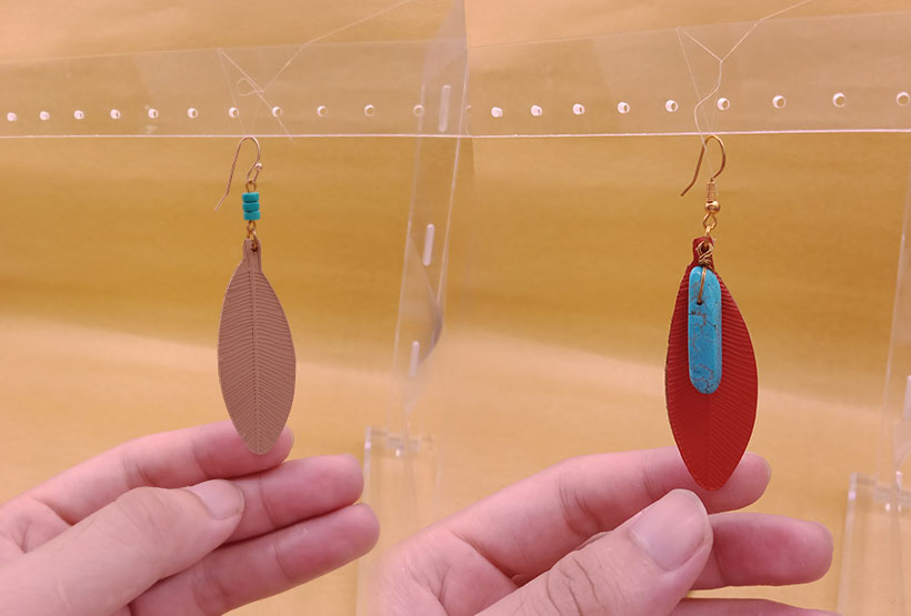 Turquoise Teardrop Leather Earrings
