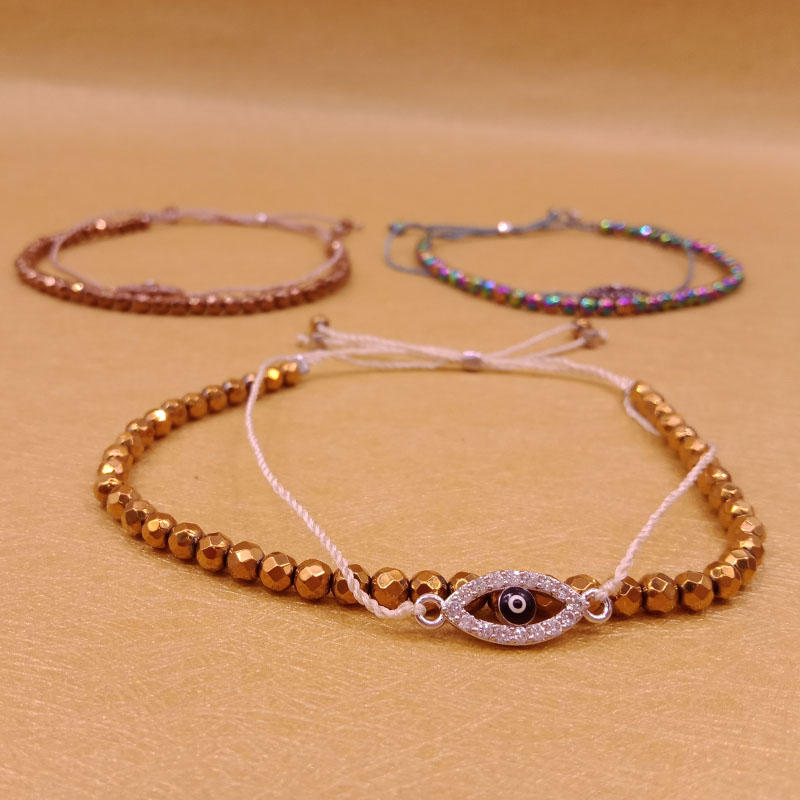 Hematite Beads Double-layers Evil Eye Bracelet Wholesale Handmade