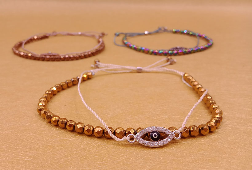 Hematite Beads Double-layers Evil Eye Bracelet