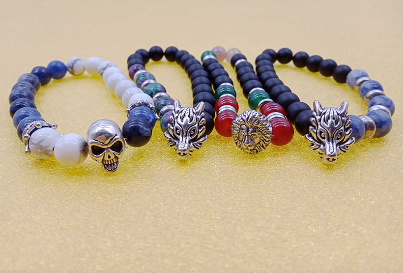 Stone Bead Alloy Charms Stretch Bracelet