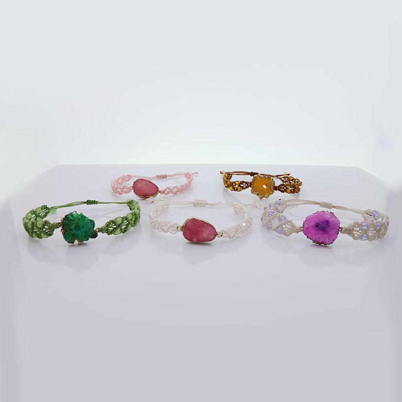 Wholesale Handmade Crystal Bead Druzy Charms Woven Bracelet