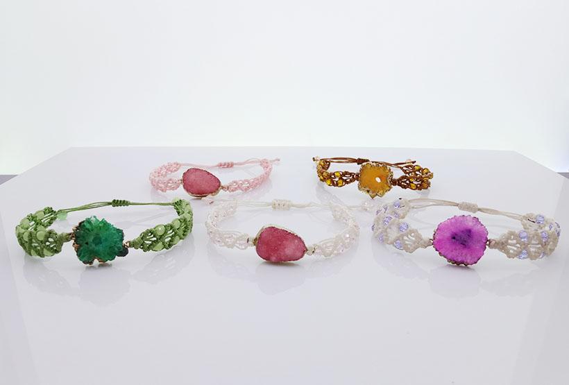 Crystal Bead Druzy Charms Woven Bracelet