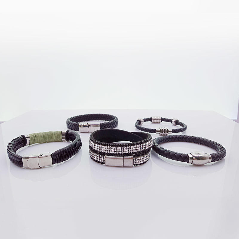 Wholesale Handmade Magnetic Leather Men Woven Bracelets