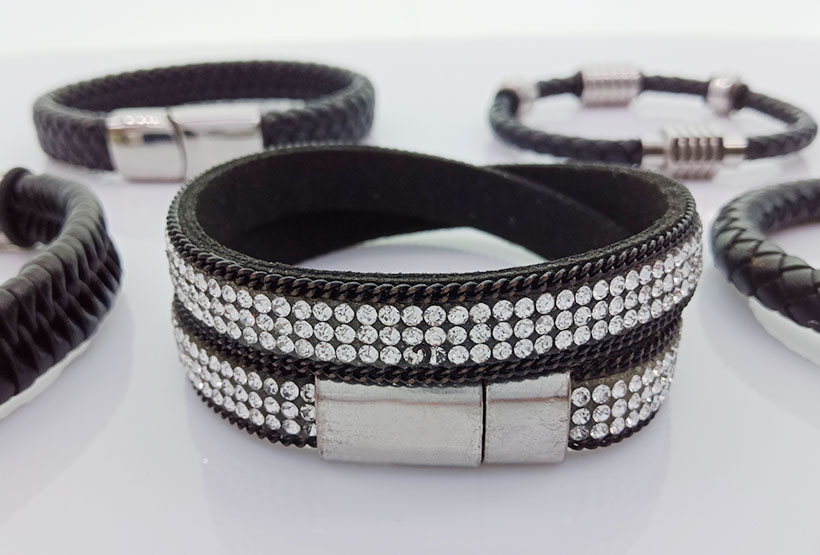 Magnetic Leather Men Woven Bracelets