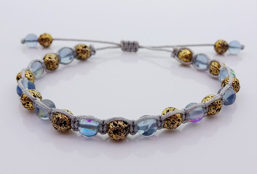 Metallic Lava And Moonstone Bead Woven Bracelet